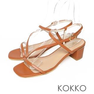 【KOKKO 集團】方頭不對稱細帶粗跟小牛皮涼鞋(奶茶棕)