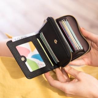 【CHENSON】真皮 17卡軟蓬蓬牛皮短夾 皮夾 錢包 黑(W19073-3)