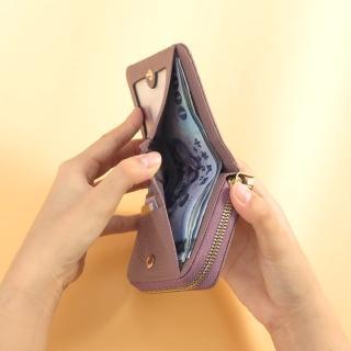 【CHENSON】真皮 17卡軟蓬蓬牛皮短夾 皮夾 錢包 豆沙紫(W19073-U)