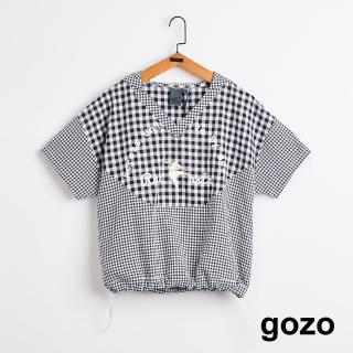 【gozo】跑步吧方巾格下擺縮口連帽上衣(二色)