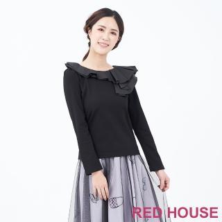 【RED HOUSE 蕾赫斯】異素材拼接波浪上衣(黑色)