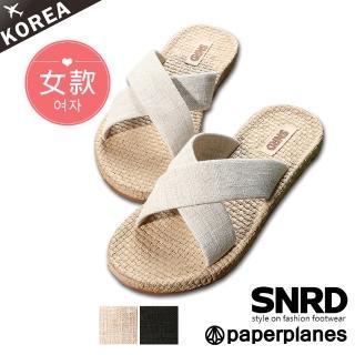 【Paperplanes】韓國空運來台/版型正常。舒適進化帆布輕量交叉平底涼拖鞋(7-0265/三色-現貨+預購)