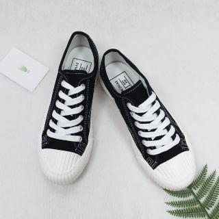 【X-INGCHI 帆布帆】X-INGCHI 男女款復古黑色帆布餅乾鞋-NO.X0052
