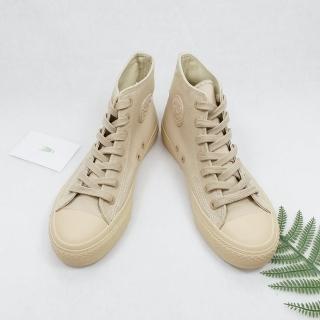 【X-INGCHI 帆布帆】X-INGCHI 女款奶茶色高筒帆布鞋-NO.X0132
