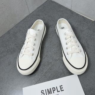 【X-INGCHI 帆布帆】X-INGCHI 女款白色帆布穆勒鞋-NO.X0168