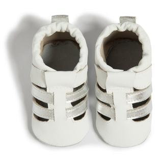 【shooshoos】健康無毒真皮手工鞋/學步鞋/嬰兒鞋_ 雙色編織_白/銀(SS103943)