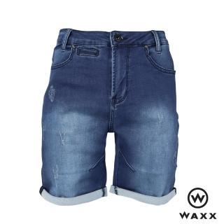 【WAXX】經典系列單寧水洗刷色抓破卷邊男牛仔短褲(海藍色)