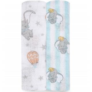 【aden+anais】氣球小飛象 二入紗布巾組(萬用包巾/哺乳巾/推車毯/推巾蓋巾)