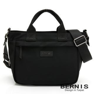【BERNIS 貝爾尼斯】輕便尼龍 橫式輕巧休閒 手提側背方包-黑色(BNE20113-BK)