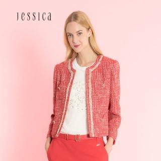 【JESSICA】小香風編織花邊口袋經典氣質花呢外套/