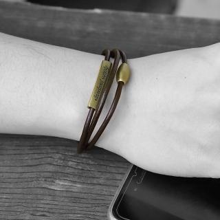 【men life】多層次鐵牌造型磁吸式皮革手環(皮手環)