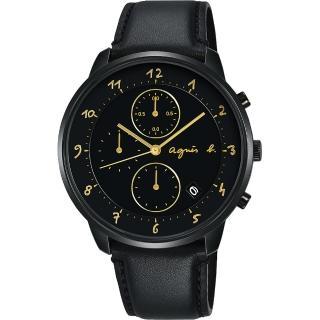【agnes b.】法國時尚三眼計時手錶-黑/40mm(VD57-KY30K BM3024J1)