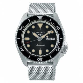 【SEIKO 精工】5 Sports 系列 黑面米蘭帶水鬼機械錶 x42.5mm(4R36-07G0D /SRPD73K1)