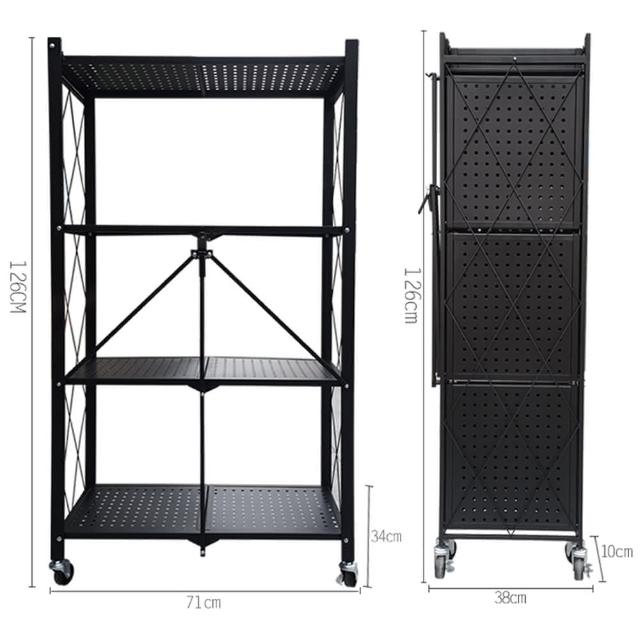 【柏詩互創】專利產品 折疊收納置物架-四層(免安裝 不佔空間 帶剎車腳輪)