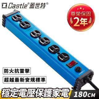 【Castle 蓋世特】鋁合金電源突波保護插座-3孔/6座(IA6晶湛藍)