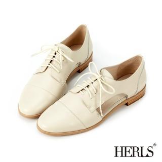 【HERLS】牛津鞋-全真皮側鏤空德比鞋牛津鞋(米色)