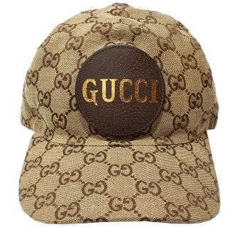 【GUCCI 古馳】576253  GUCCI LOGO緹花布棒球帽(棕色 L號)