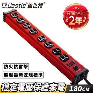 【Castle 蓋世特】鋁合金電源突波保護插座-3孔/8座(IA8閃耀紅)