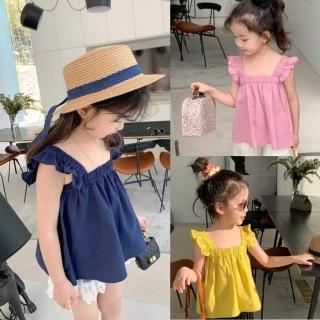 【小衣衫童裝】女童夏季甜甜花邊吊帶娃娃款背心(1090519)