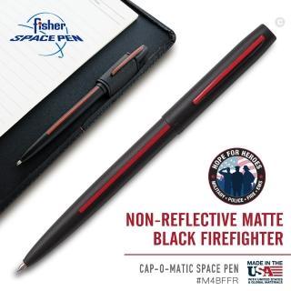 【fisher 美國】Space Pen 消防隊員按壓式太空筆 / 黑身紅線(# M4BFFR)