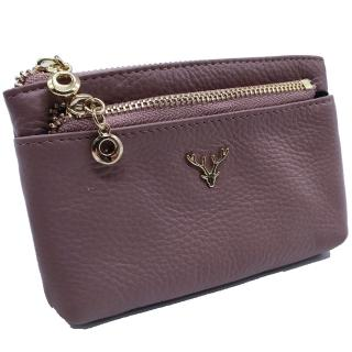 【Misstery】零錢包進口牛皮女用小巧零錢包/卡片夾-紫(小牛皮零錢包系列)