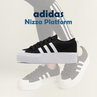 【adidas 愛迪達】休閒鞋 Nizza Platform  厚底 女鞋 愛迪達 三葉草 基本款 增高 穿搭推薦 黑 白(FV5321)