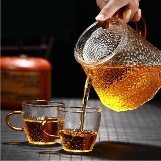 【古緣居】手工口吹錘紋玻璃沖茶壺贈錘紋杯兩個(方菱款)