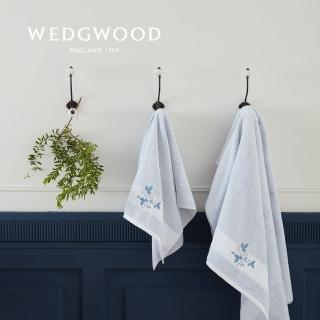 【WEDGWOOD】100%埃及棉刺繡長巾1入-靛藍草莓(50x90cm)/