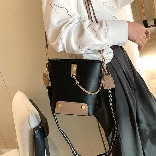 【Abigail】復古寬背帶肩背包斜背包水桶包鍊條包手提包6128(黑色)