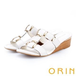 【ORIN】金屬質感T字楔型拖鞋(白色)