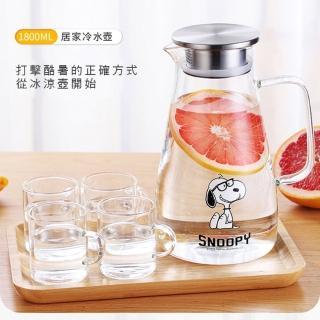 【SNOOPY 史努比】史努比玻璃冷水壺 家用大容量耐高迹防爆開水壺 水壺 果汁壺(1800ml)