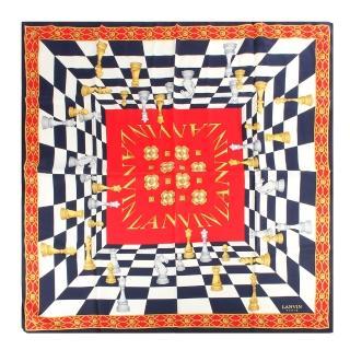 【LANVIN 浪凡】錯視藝術復古西洋棋盤絲巾(深藍色)