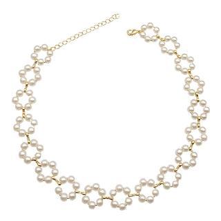 【RJ New York】優雅氣質珍珠鏤空約會項圈頸鍊(金色)