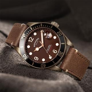 【ROMAGO】限量青銅錶 潛水機械錶-咖啡/42.5mm(RM106-BR)