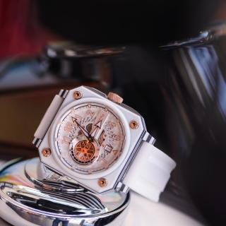 【ROMAGO】碳霸系列 超級碳纖自動機械腕錶 - 白色/46.5mm(RM097-WH)