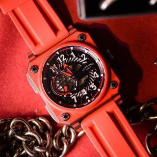 【ROMAGO】碳霸系列 超級碳纖自動機械腕錶 - 紅色/46.5mm(RM097-RD)