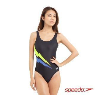 【SPEEDO】女 運動連身泳裝 Placement UB(藍/黃)