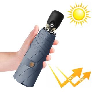 【幸福揚邑】鈦防曬抗UV降溫UPF50+全自動8骨晴雨口袋迷你五折疊傘(霧藍)