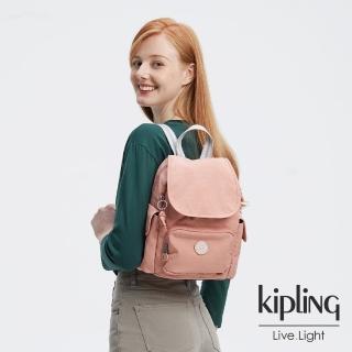 【KIPLING】奶油草莓拿鐵色拉鍊掀蓋後背包-CITY