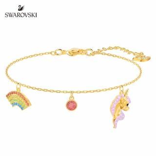 【SWAROVSKI 施華洛世奇】Unicorn 淡金色彩虹獨角獸手鏈
