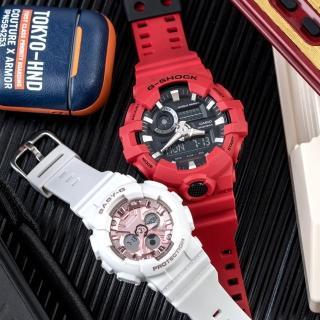【CASIO 卡西歐】G-SHOCK x BABY-G 經典愛戀情人對錶(GA-700-4ADR+BA-130-7A1DR)