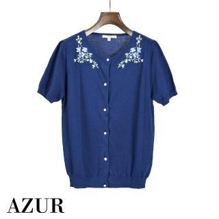 【AZUR】法式古典珍珠刺繡針織上衣-藍