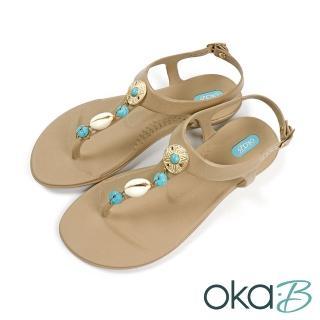 【oka-B】雕花貝殼造型配飾夾腳T字涼鞋 咖啡色(K419SH-BR)