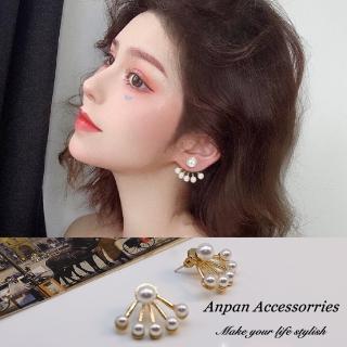 【Anpan】925銀針韓東大門前後扣一款兩帶扇形珍珠耳環