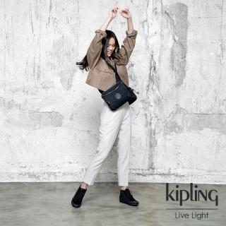 【KIPLING】極致低調黑方形拉鍊斜背包-NEAL MINI