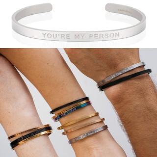 【MantraBand】You are my person 你是我要的 男款寬版消光銀手環(美國悄悄話手環)