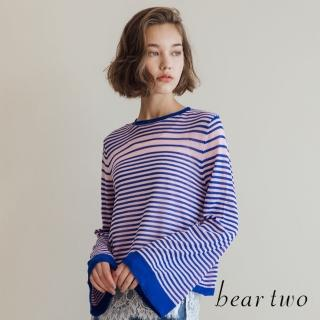 【bear two】微透肌條紋寬袖針織上衣(藍色)