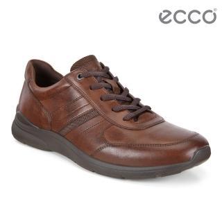 【ecco】IRVING 質感舒適皮革休閒鞋 男鞋(棕色 51156412014)