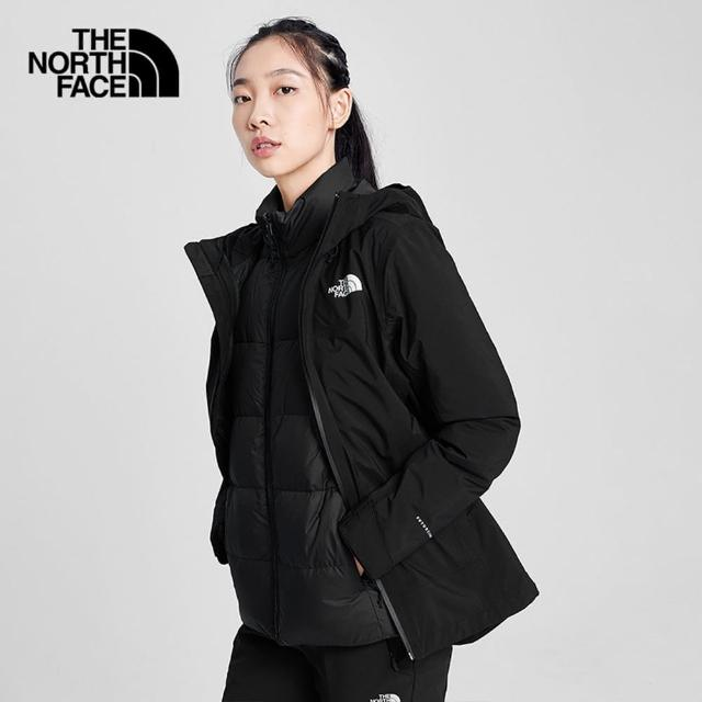 【The North Face】The North Face北面女款黑色防水透氣三合一外套|4NAHJK3