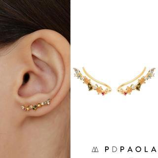 【PD PAOLA】西班牙時尚潮牌 繽紛彩鑽耳環 貼合耳廓耳環 925純銀鑲18K金 EUPHORIA(925純銀鑲18K金)